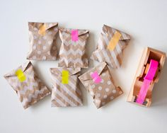 Mini Kraft bags with bright washi tape