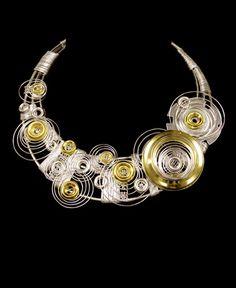 Necklace | Hyangmi Kim. 'Raindrops'.  Silver, aluminium, steel, brass, nickel, metal ribbon