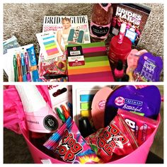 Engagement gift idea?! Create a fun basket filled with great bride stuff! Bridal magazines, movies (The Wedding Planner, Bridesmaids, Etc...), champagne, jewelry cleaner, ring pops, nail kit/ polish, daily planner, pens, to-do lists, etc... So many possibilities!