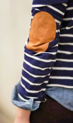 Chambray over stripes elbow patch sweater