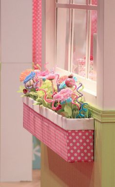 Indoor window box with fake flowers in a little girl's room (smile)