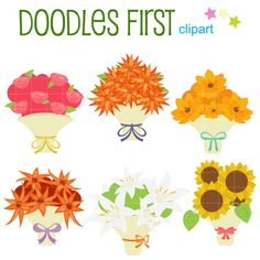 This clipart set includes the following elements.    6 x Lovely Bouquets    Each clipart illustration is included separately as a high resolution PNG file with a transparent background, a JPG with a white background and as as editable SVG file.    Each object is provided at a sizes of 5.5 Inches on its longest side. The PNG makes it versatile to scale for any project.    No watermarks will appear on purchased items.    The purchased clip art that will be provided is much higher quality that…