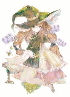 YOGISYA Art And Illustration, Illustrations Posters, Anime Witch, Image Manga, Kawaii Chibi, Witch Art, Anime Angel, Anime Art Girl, Anime Girls