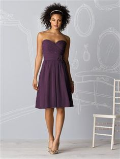 After Six Bridesmaids Style 6609  Aubergine Lux Chiffon purchase swatch  Strapless cocktail length lux chiffon dress with shirred bodice and matching flower detail at natural waist.