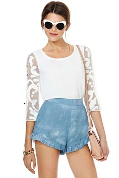 Lana Blouse + Nasty Gal Head in the Clouds Shorts