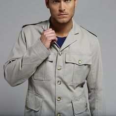 50's Safari Jacket-  Made from a cool, lightweight fabric and designed for African expeditions, the Safari Jacket is timeless.