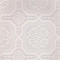 1 Double Roll (covers 56 square ft) White Small Ceiling Tile Paintable Wallpaper