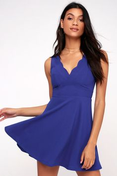 The Lulus Won and Only Royal Blue Skater Dress is your ticket to a winning look! Flattering fit-and-flare dress with a cute scalloped neckline and princess seamed, sleeveless bodice. Set-in waist tops a flirty skater skirt, composed of medium-weight stretch knit. Free shipping and free returns!