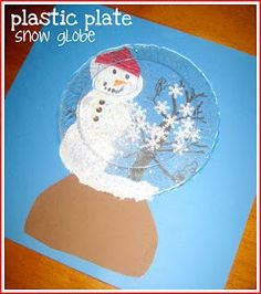 Snowglobe Craft using a clear plastic plate
