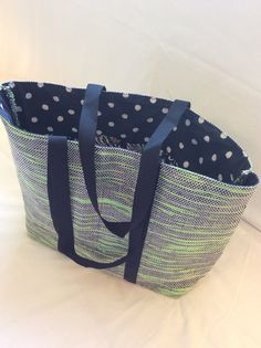 Handwoven tote bag made of upcycled VHS by tangledupinbluesprgs Cassette Vhs, Blue Springs, Textile Art, Bag Making, Hand Weaving, Upcycle, Creations, My Etsy Shop, Quilts