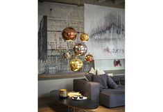 """BOLLE proposes an """"ashlared"""" process that, in giving to the sphere an offset appearance, accentuates its chromatic effects, beautiful to look. Copper Lighting, Ceramic Materials, Lamp Design, Aldo, Ceiling Lights, Ceramics, Home Decor, Light Bulb Drawing, Ceramica"""