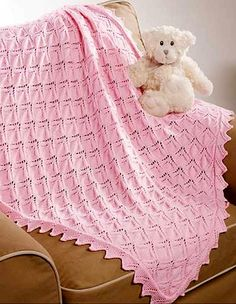 Knitting Pattern for Sweetheart Lace Baby Blanket - #ad One of 9 patterns in Dreamy Baby Wraps | See more pics at LeisureArts.com tba