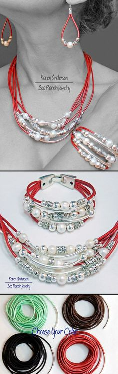 DIY Jewelry: Pearlfection! Freshwater Pearl Leather & Silver Beads Jewelry Set. Earrings Bracelet Necklace Choice Of Black Brown Green or Red.