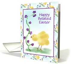 Belated Easter Card With Chick and Flowers card. Thank you customer in the United Kingdom!