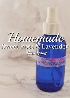 Treat yourself to a luxurious homemade linen spray. This sweet rose and lavender mist will lull you to sleep when you use it before bed.