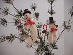 Vintage-Spun-Cotton-and-Chenille-Snowman-Christmas-Ornament