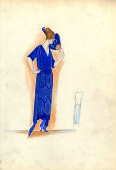 """""""Evening Dress, 1917. Blue dress with light blue pattern on skirt; draped bodice with V-neck and elbow length sleeves; side panels on skirt. (Bendel Collection, HB 021-04)"""", 1917. Fashion sketch. Brooklyn Museum, Fashion sketches. (Photo: Brooklyn Museum, SC01.1_Bendel_Collection_HB_021-04_1917_SL5.jpg)"""