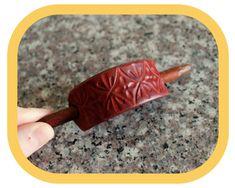Red Leather Hair Barrette Hair Slide Hair Stick Hand | Etsy Leather Carving, Leather Art, Leather Pieces, Yellow Leather, Leather Tooling, Leather Accessories, Hair Accessories, Festival Accessories, Hippie Festival