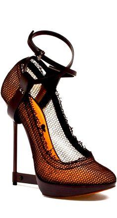 Lanvin halloween-esque orange and black shoes, interesting heels, strappy