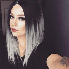 EvaHair Angled Cut Grey Ombre Color 2016 Fashion Bob Synthetic Wig - Synthetic Lace Front Wigs - EvaHair