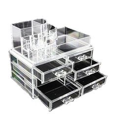 Clear Acrylic Cosmetics Makeup Jewelry Organizer 6 Drawers with 8 Compartments Top Section ( idea for Christmas, birthday gift) ** More info could be found at the image url.
