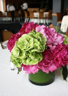 blending traditional with modern with a pink and green floral arrangement