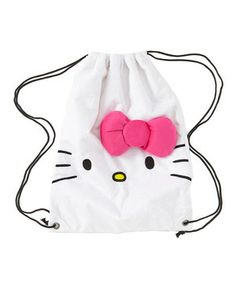 Take the charm of Hello Kitty anywhere on the go with this chic drawstring backpack. Featuring Hello Kitty's iconic face and bow, it's a cute and convenient accessory perfect for everyday use.
