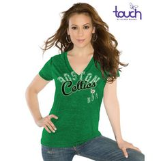Touch by Alyssa Milano Boston Celtics Women's Kickstart V-Neck Burnout Slim Fit Shirt - Kelly Green