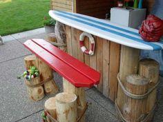 Backyard beach style bar: 27 Awesome Beach-Style Outdoor Living Ideas for Your P. Backyard beach s Diy Outdoor Bar, Diy Outdoor Furniture, Outdoor Living, Outdoor Decor, Nautical Decor Outdoor, Nautical Deck Ideas, Beach Furniture, Simple Furniture, Nautical Style
