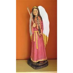 Wooden Angel Wood Carved Angel Angel Statue Angel Figurine Christmas... ($195) ❤ liked on Polyvore featuring home, home decor, wood figure, christmas angel statues, angel statue, christmas home decor and christmas statues