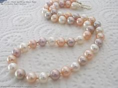 Silver, Peach and White Almost Round 8mm Freshwater Pearl Necklace