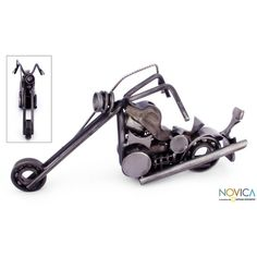 NOVICA Auto Part Motorbike Sculpture Recycled Metal Handmade Mexico ($50) ❤ liked on Polyvore featuring home, home decor, art gallery, iron sculpture, metallic, sculpture, metal home decor, bear home decor, metal sculpture and spring home decor