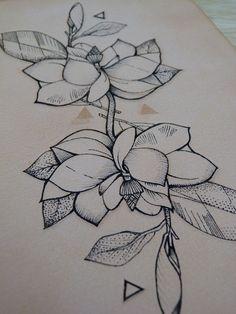Tattooed Leather art. Geometric Flower 18. Punctured Artefact. Magnolia
