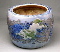 Vintage Hibachi : Arita porcelain, Japanese traditional heating device