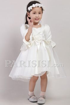 Satin Tulle Half-Sleeve Zipper Tea-length White A-line Flowers Sash Flower Girl Dress price USD $89 - PARISISI ONLINE DISCOUNT SHOP