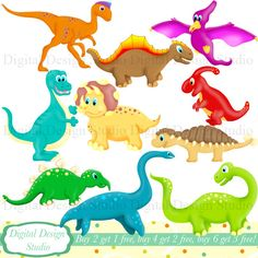 Cute Dinosaurs clip art set with FREE background. INSTANT DOWNLOAD for Personal and commercial use.