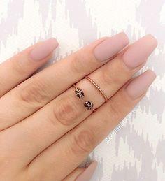 gold rings, matte nails, nails, skull rings, coffin nails, pink matte nails, pretty long nails