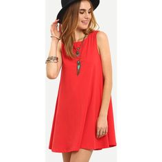 Red Sleeveless Tie Back Shift Dress ($11) ❤ liked on Polyvore featuring dresses, red, cotton summer dresses, sleeveless summer dresses, red shift dress, tank dresses and short summer dresses