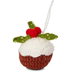 CHRISTMAS Knitted Christmas pudding tree decoration 8cm