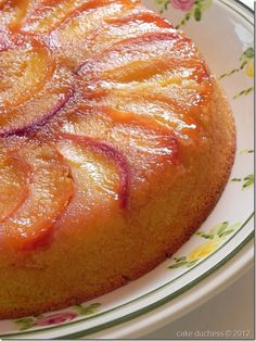 Peach and Cornmeal Upside-Down Cake - looks like the perfect way to use up the farmer's market peaches in my kitchen!