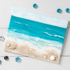Paint with Plaid Projects Projects - DIY Crafts Beach Themed Crafts, Beach Crafts, Seashell Art, Seashell Crafts, Resin Crafts, Resin Art, Diy Crafts, Beach Wall Art, Beach Canvas
