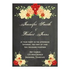 This fun and trendy design, called Blood Orange Flower Chalkboard Wedding, has a hip chalk inspired design. The background looks like a chalkboard. At the top there is a bloodorange, peach and cream drawing of flowers with green leaves. There are smaller coordinating designs in the lower corners as well. #wedding #invitation
