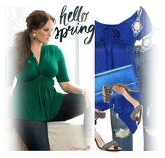"""""""Spring Date: Pretty Plus-Size Style /2"""" by ansev ❤ liked on Polyvore featuring James Jeans"""
