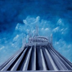 "Original ""Space Mountain"" Disney Oil Painting"