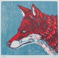 Fox Orginal Woodcut Print