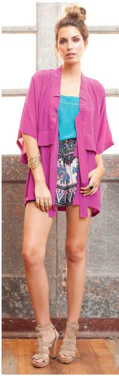 "GORGEOUS WINTER KATE by NICOLE RICHIE PINK SILK ""KIRI"" KIMONO TUNIC TOP XS #WinterKate #Blouse"