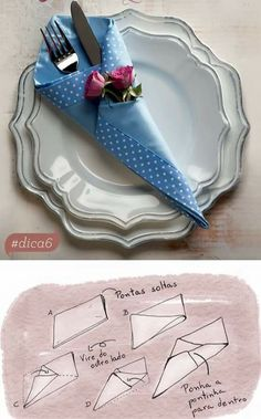 Paper Napkin Folding Idea with Chinet – Oh, les rues de France! Paper Napkin Folding, Paper Napkins, Folding Napkins, Ostern Party, Handmade Home, Tea Party Baby Shower, Beautiful Table Settings, Bottle Painting, Bottle Art