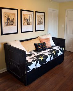 old door day bed | Painted Black Salvaged Doors Daybed Upcycled Shabby by dwellbeing