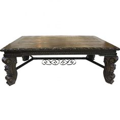 Archbi Dark Wood Iton Old World Coffee Table