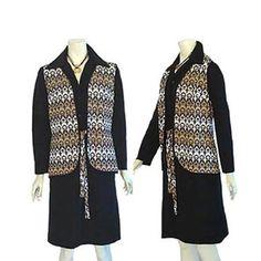 Vintage Mod 1960s Black Dress & Print Vest  Joan Curtis L #JoanCurtis